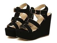 2014 NEW Vivi open toe wedge sandals platform high heels ankle strap Gladiator round toe summer women pumps z174 pink black shoe
