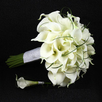 New 2014 Wedding Flower Calla Lily Bride Holding Flowers White Wedding Bouquet  Free Shipping