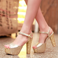 2014 Hot sale fashion open toe high-heeled sandals shoes 33-43 small yards thick heel bling party sandals sexy women's sandals