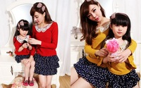 2014 new spring parent-child dress two piece suit Short sleeve shirt and knee  parentage Free Shipping