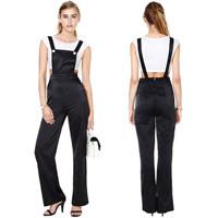 New Arrival ! Black gloss fabric button decoration jumpsuit bib pants overalls  For women Plus sizes XS-XXL
