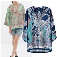 2014 New Design Fashion Women's Cashew Print V Neck Kimono Stylish Blouse Blouses Ladies Top outwear Streetwear