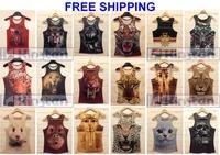 2014 mens fashion 3d T animal singlet clothing gift shirts tank top gym bodybuilding fitness vest sport present freeshipping