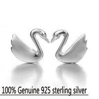 Wholesale Genuine 925 sterling silver crystal fashion earrings wedding beauty swan jewelry for women 4R618