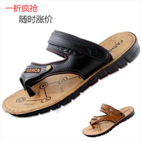 2014 summer casual beach sandals male faux leather slippers flip-flop sandals male