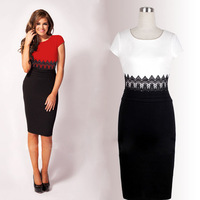 Free shipping O-neck short sleeve Knee-Length patchwork lace red and white women dresses new fashion 2014 casual dress