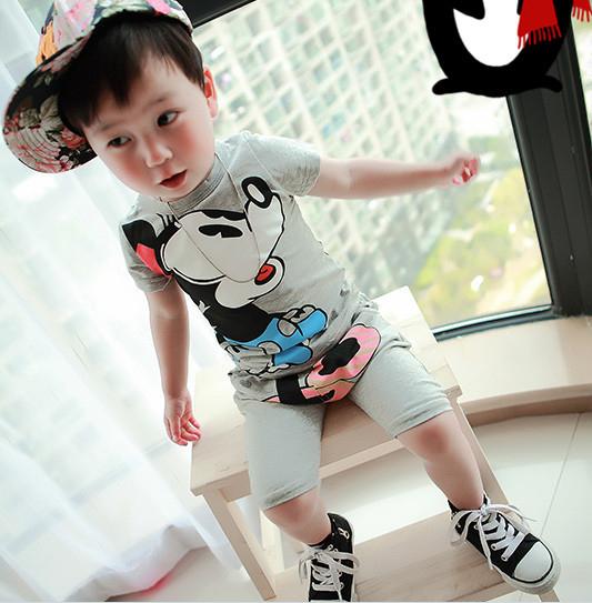 Minnie Mickey Mouse 2 cor ternos esportivos desenhos animados do bebê menino roupas de verão para crianças Minnie Mouse define meninos t -shirt + calça Outfits(China (Mainland))
