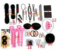 Hair Styling Accessories Set Total 20pcs Free Shipping Wholesale- Bun Maker, Hair Roller, HeadBands, Hair Pins
