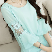 Fast/Free Shipping New 2014 Plus Size Women Lace Chiffon All-match O-neck Casual Blouses&Shirts Ladies Clothing Blouse A7951