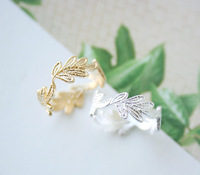 Simple 2014 fashion temperament of leaf ring women silver jewelry