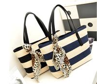 Spring canvas shoulder bag  vintage preppy style  big bag casual navy style stripe cloth bag women's handbag