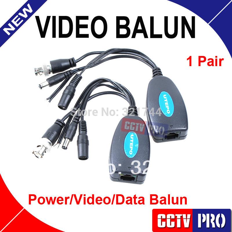 Passive Power/Video/Data Balun Pair Coax Cat5 RJ45 PTZ(China (Mainland))