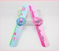 2014 New peppa pig Children Boys Girls Cute Animal George Pig Slap Snap Rubber Bracelet Wrist Watch Baby Kids Toys Electronic