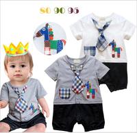 Retail Children romper three-dimensional cartoon house style cotton romper tie pocket baby jumpsuit 6936007