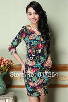 New 2014 Spring Summer Printed Floral V-neck Women Dresses Slim Mini Party Dress Vintage Elegant Novelty Dress Plus Size 3XL