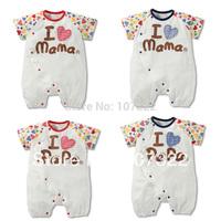 New arrival retail 2014 children's clothing child romper 4 style love papa mama short-sleeve romper children jumpsuit 6936002