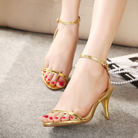Hot 2014 new star style summer fashion ankle strap thin high heels sandals open toe shoes women sandal brand