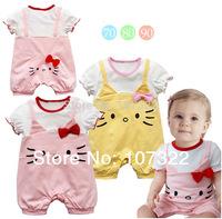 Retail Children's clothing three-dimensional kt cat style short-sleeve romper baby girls fake designer 2 colors 6936004