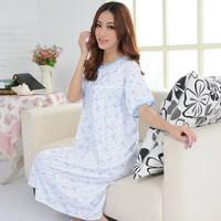 Women's 100% short-sleeve cotton plus size plus size nightgown women's sleepwear mm Large nightgown