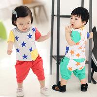 Retail Summer star pattern cat style child short-sleeve sports set supernova childrens casual family set 6236010