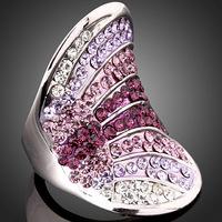 Luxury Shiny Platinum Plated Pave Purple SWA Austrian Crystal Woman Wedding Party Ring J00889