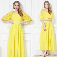 New 2014  yellow lace chiffon one-piece dress bohemia beach full dress  wholesale