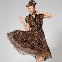 New 2014 8212  leopard print black shirt collar short-sleeve medium one-piece dress  wholesale