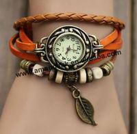 100pcs/lot Hot Promotion New Fashion Retro Style wrist watches PU  Leather Leaf  pendant  Woman weave bracelet dress Watches