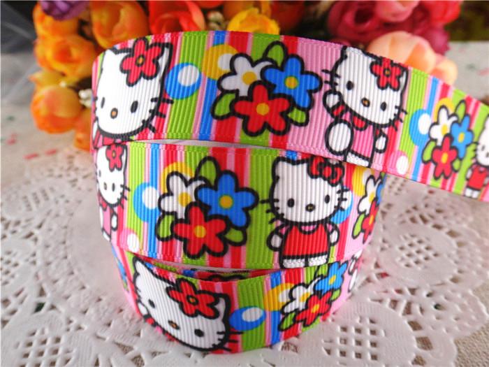 2014 new arrival 7/8'' (22mm) hello kitty printed grosgrain ribbons cartoon ribbon DIY hair bows 10 yards WQ14042510(China (Mainland))