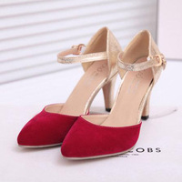 2014 New 2 Colors Fashion Black&red  high heel  pumps, Cheap Gold high heels Summer Shoes, Free shipping,zy384
