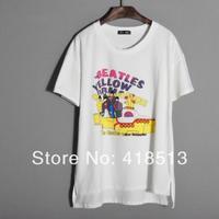 Ms cherry Cartoon the beatles T-shirt summer short-sleeve 2014 women's  short-sleeve Tee gray,white Free shipping