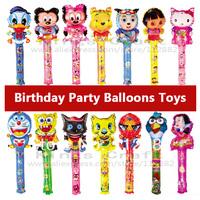 80cm Height  Cartoon Design Foil Balloons,  Party Festival Balloon Sticks,  Stick Smote Birthday Toys Free Shipping