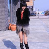 O-neck 2014 raccoon fur gradient color medium-long slim female outerwear vest