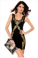 Lady's Fashion Black Embroidery Bronzing Sexy Sleeveless Straps Dress