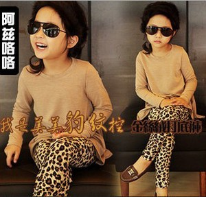 Free shipping 2014 new 5pcs/lot children's spring pantyhose trousers baby girls leggings kids leopard print pants(China (Mainland))