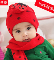 2014NEW baby hat cap scarf twinset Cotton Beatles hat children hat+scarf Toddler animal QM180