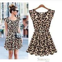 Brand New 2014 Leopard Women Summer Dress Casual Desigual Sexy Vestidos Dresses Free Shipping