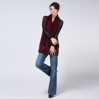 Knitted rabbit fur shawl fur handmade mix match knitted cloak ms73820
