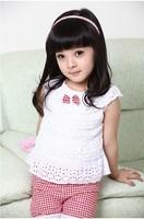 New Summer Kids Clothing Set Lace Children Girl Clothes Set T Shirt And Lattice shorts Pants 2 Colors Infant Garment