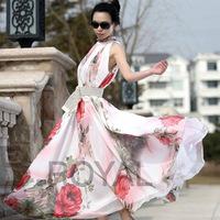 Free shipping Sexy Women's Maxi Sleeveless Floral Casual Summer Beach Party Long Chiffon Dress