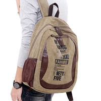 Men's fashion multifunctional backpack canvas double layer preppy style school bag outdoor travel bag