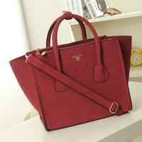 2014 scrub women's handbag fashion normic suede fabric deformation smiley bag handbag messenger bag big bags