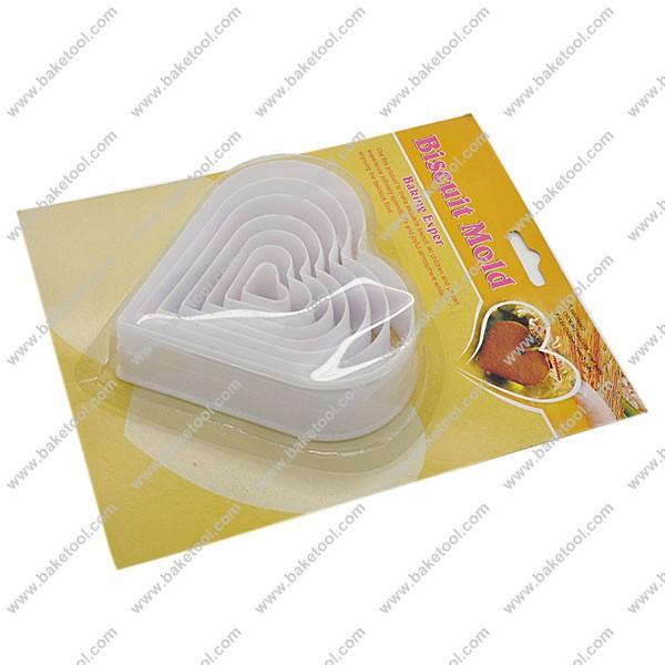 Grátis frete plástico coração forma de biscoito êmbolo cortadores bolinho de imprensa molde cortadores de biscoito brinde molde de impressão(China (Mainland))