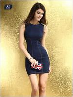 Lady's  Summer New Sleeveless Dark Blue Tangerine Package Buttocks Rivet  Decorate Dress