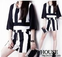 2014 spring female fashion elegant fashion black and white stripe shorts set female