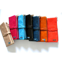 Free shipping Genuine Leather women's Long section of the multi-card wallets zipper black and brown solid  JCCS1028