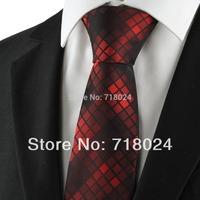 New Check Pattern Dark Red Tie For Men Silk Tie Suit Necktie