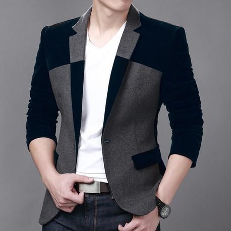 Hot Sale Men's Velvet Blazer Slim Fit Corduroy Casual Suit Jacket Winter Patchwork Fashion Blazers Men Plus Size M-6XL FS-034(China (Mainland))