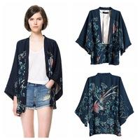 phoenix print women's Ladies chiffon jacket coat long-sleeve womens Blazers suits Outerwear plus size free shipping