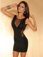 Free shipping 2014 new fashion women black gauze patchwork backless party mini dresses ladies sexy tank casual dress vestidos